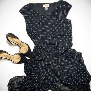 Talbots Polka Dot Black Career Dress
